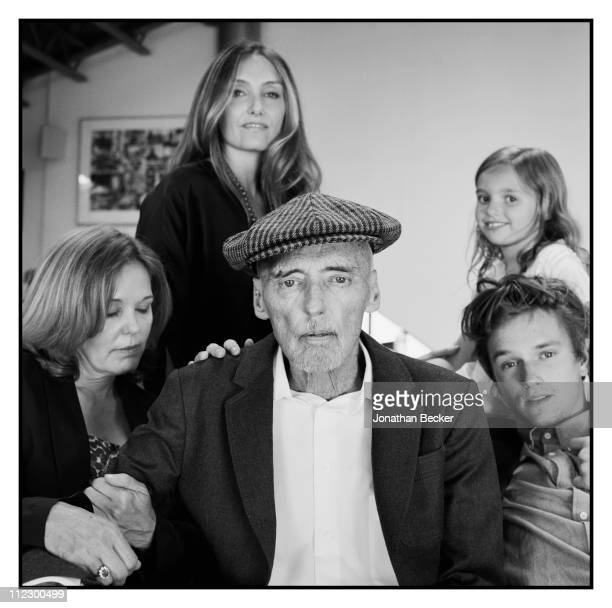 Actor Dennis Hopper is photographed at home with his children Marin Ruthanna Galen and Henry for Vanity Fair Magazine on August 1 2010 in Venice...
