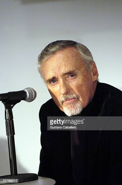 Actor Dennis Hopper looks on during the Art Loves Film press conference during Art Basel Miami 2006 at the Miami Beach Convention Center on December...