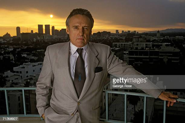 Actor Dennis Hopper poses on the balcony of the Four Seasons Hotel during a 1989 Beverly Hills California photo portrait session In 1988 Hopper...