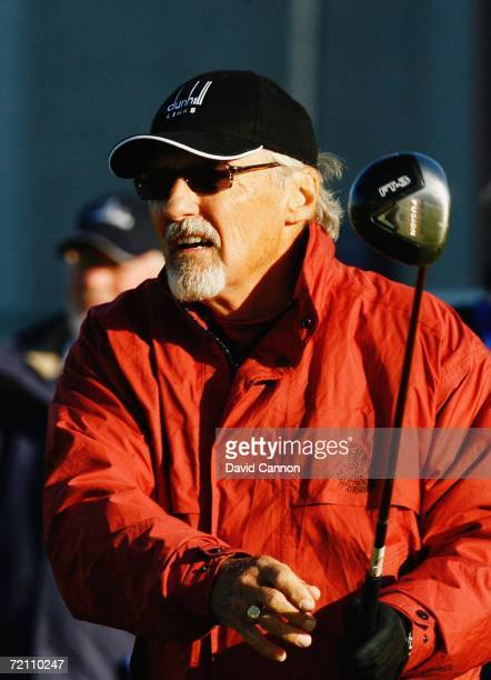 Actor Dennis Hopper tees off at the 1st hole during the Third Round of The Alfred Dunhill Links Championship at Carnoustie Colf Club on October 7...