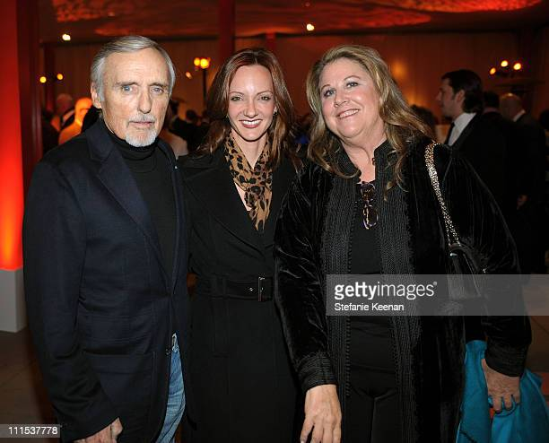 Actor Dennis Hopper Victoria Duffy and Wendy Stark Morrissey attend the BMW Art Car US Tour hosted by Vanity Fair held at LACMA on February 18 2009...
