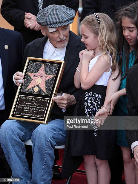 Actor Dennis Hopper with daughter Gallen Hopper at a ceremony honoring Dennis Hopper with a star on the Hollywood Walk Of Fame on March 26 2010 in...