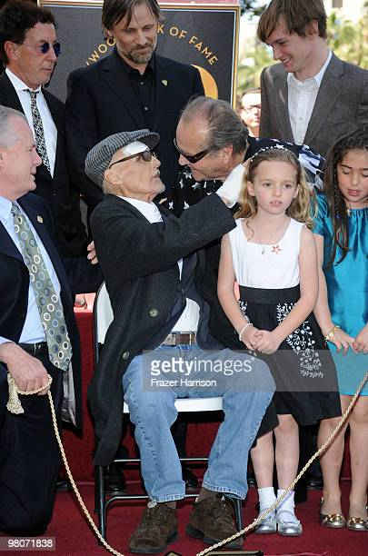 Actor Dennis Hopperwho was honored with the 2403rd Star on the Hollywood Walk of Fame is congratulated by Jack Nicholson actor watched on by City...