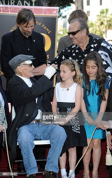 Actor Dennis Hopperwho was honored with the 2403rd Star on the Hollywood Walk of Fame is congratulated by Jack Nicholson actor watched on by actor...