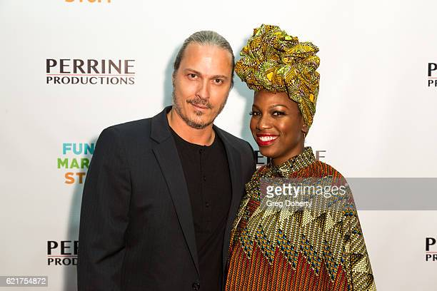 Actor Dennis Larios and Actress Natalie Taylor arrive for the Screening Of Perrine Productions' 'Funny Married Stuff' at the ACME Comedy Theatre on...