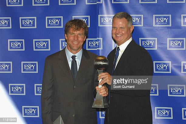 Actor Dennis Quaid and former baseball player Jim Morris with the ESPY for Best Sports Movie won by The Rookie at the 10th Annual ESPY Awards on July...