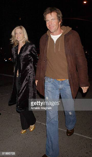 Actor Dennis Quaid and his wife Kimberly Buffington walking and hiding cigarettes outside a midtown restaurant on January 14 2005 in New York City