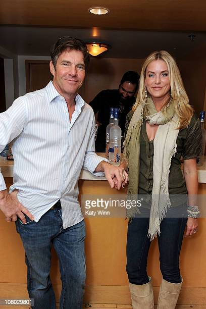 Actor Dennis Quaid and his wife Kimberly pose at the 2011 DPA Golden Globes Gift Suite at the L'Ermitage Hotel on January 13 2011 in Beverly Hills...