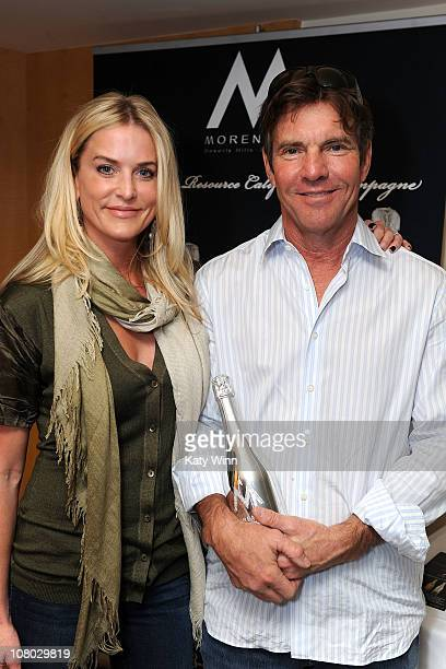 Actor Dennis Quaid and his wife Kimberly Quaid pose at the 2011 DPA Golden Globes Gift Suite at the L'Ermitage Hotel on January 13 2011 in Beverly...