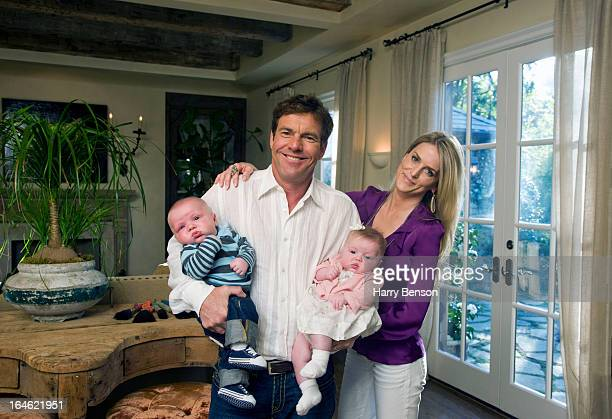 Actor Dennis Quaid and wife Kimberly are photographed with twins Thomas Boone and Zoe Grace for Architectural Digest in 2008 in Los Angeles California