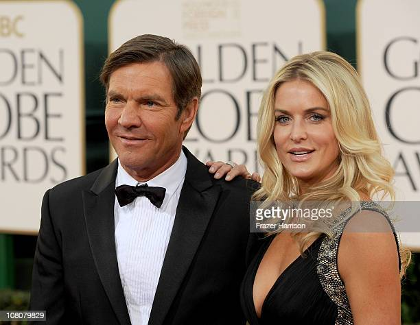 Actor Dennis Quaid and wife Kimberly Quaid arrive at the 68th Annual Golden Globe Awards held at The Beverly Hilton hotel on January 16 2011 in...