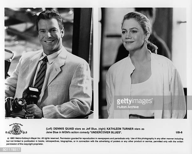 """Actor Dennis Quaid as Jeff Blue and actress Kathleen Turner as Jane Blue in a scene in the MGM movie """"Undercover Blues"""" circa 1993."""