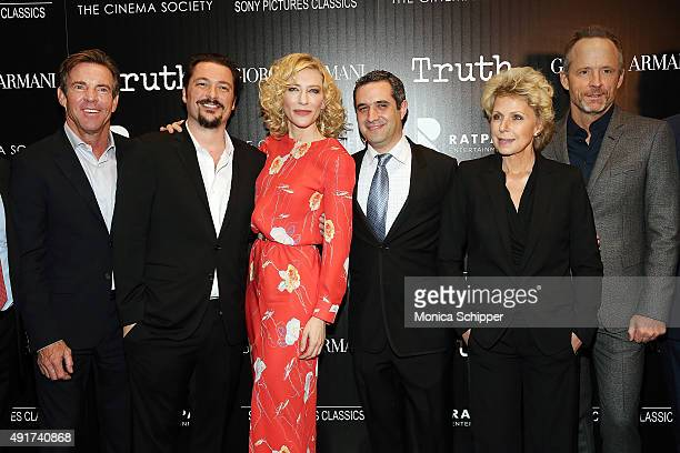 Actor Dennis Quaid, director James Vanderbilt, actress Cate Blanchett, producer Bradley J. Fischer, journalist Mary Mapes and actor John Benjamin...