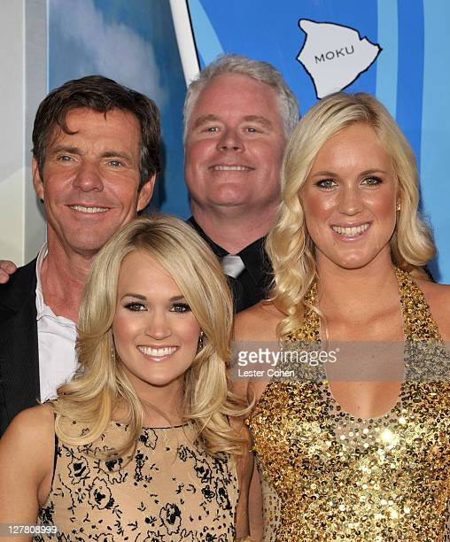 Actor Dennis Quaid singer Carrie Underwood director Sean McNamara and surfer Bethany Hamilton arrive at the the Soul Surfer Los Angeles Premiere at...