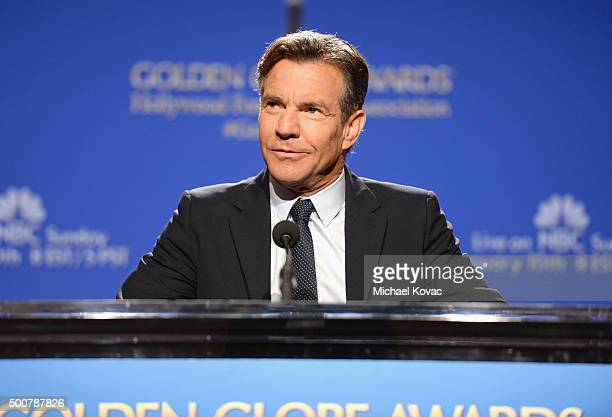 Actor Dennis Quaid speaks onstage during the Moet Chandon Toast at The 73rd Annual Golden Globe Awards Nominations at The Beverly Hilton Hotel on...