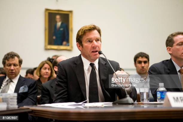 Actor Dennis Quaid testifies at a hearing on Capitol Hill May 14 2008 in Washington DC Quaid is the father of newborn twins who were victims of a...
