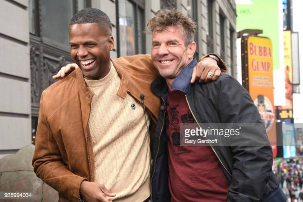 Actor Dennis Quaid visits 'Extra' with host AJ Calloway at Hard Rock Cafe Times Square on March 1 2018 in New York City