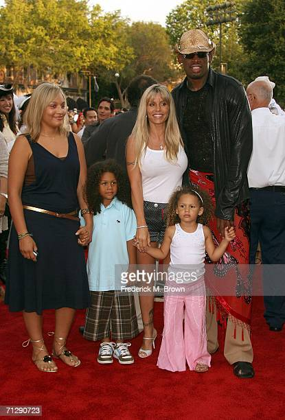 Actor Dennis Rodman with wife Michelle Moyer and kids arrive at the world premiere of Pirates of the Caribbean 2 Dead Man's Chest held at Disneyland...