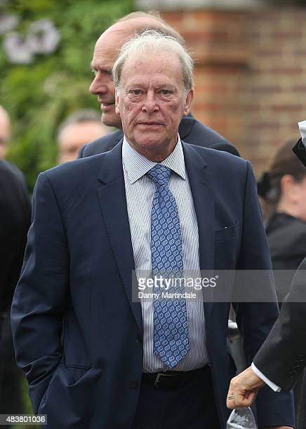 Actor Dennis Waterman attends the funeral of George Cole at Reading Crematorium on August 13 2015 in Reading England