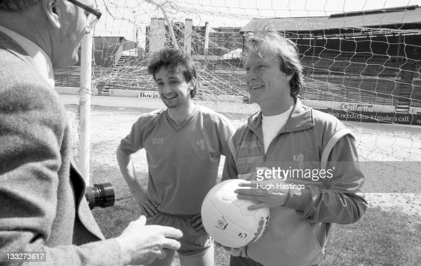 Actor Dennis Waterman with Chelsea player Pat Nevin during the Launch of the Chelsea Collection clothing range held in April 1986 at Stamford Bridge...