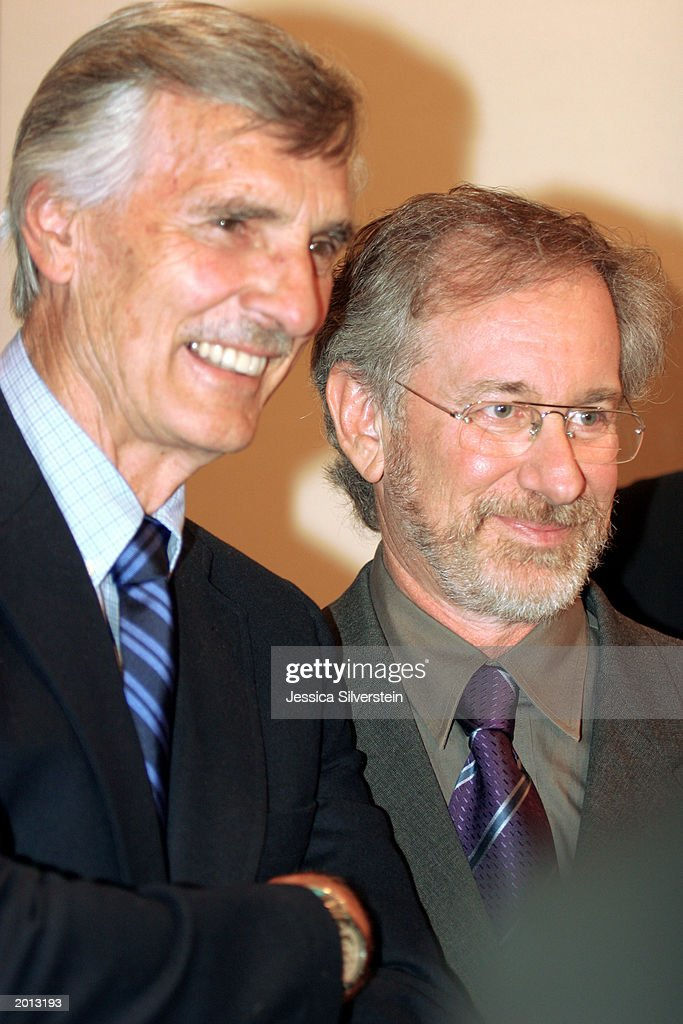Actor Dennis Weaver (L) and director Steven Spielberg attend the 29th Annual Saturn Awards presented by Cinescape May 18, 2003 at the Renaissance Hollywood Hotel in Los Angeles, California.