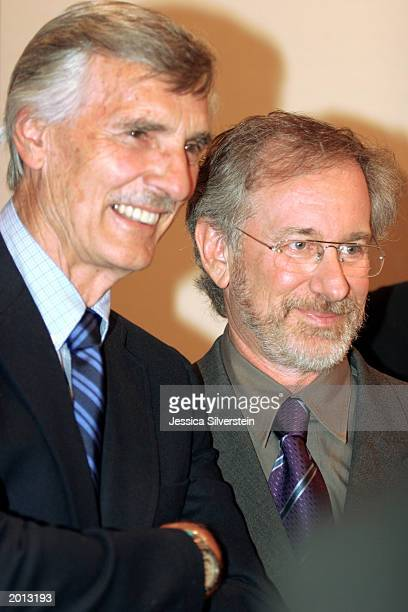 Actor Dennis Weaver and director Steven Spielberg attend the 29th Annual Saturn Awards presented by Cinescape May 18 2003 at the Renaissance...