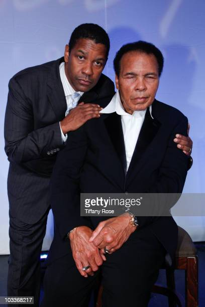 Actor Densel Washington and Mohammad Ali pose at the 10th Annual Harold Pump Foundation Gala on August 12 2010 in Century City California