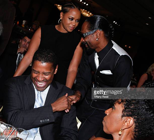 Actor Densel Washington Shante Broadus and Snoop Dogg attend the 10th Annual Harold Pump Foundation Gala on August 12 2010 in Century City California