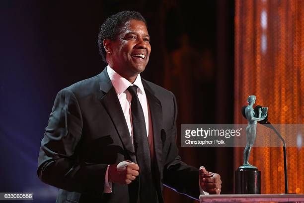Actor Denzel Washington, accepting the award for Male Actor in a Leading Role, during The 23rd Annual Screen Actors Guild Awards at The Shrine...