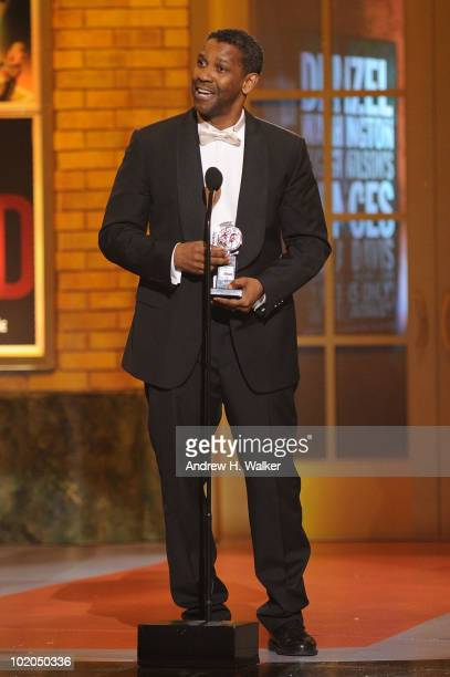 Actor Denzel Washington accepts his award onstage during the 64th Annual Tony Awards at Radio City Music Hall on June 13 2010 in New York City