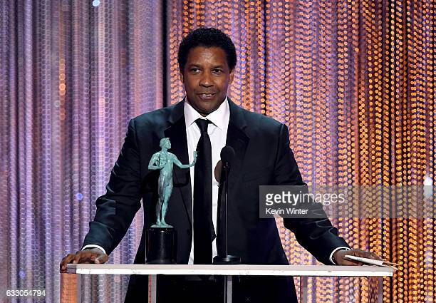 Actor Denzel Washington accepts Outstanding Performance by a Male Actor in a Leading Role for 'Fences' onstage during The 23rd Annual Screen Actors...