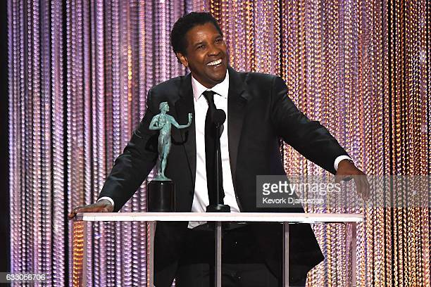 Actor Denzel Washington accepts the award for Best Make Actor in a Leading Role for 'Fences,' onstage during the 23rd Annual Screen Actors Guild...