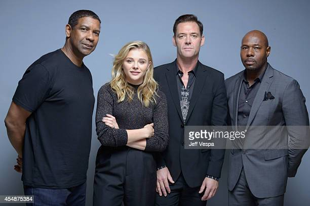 """Actor Denzel Washington, actress Chloe Grace Moretz, actor Marton Csokas and director Antoine Fuqua of """"The Equalizer"""" pose for a portrait during the..."""