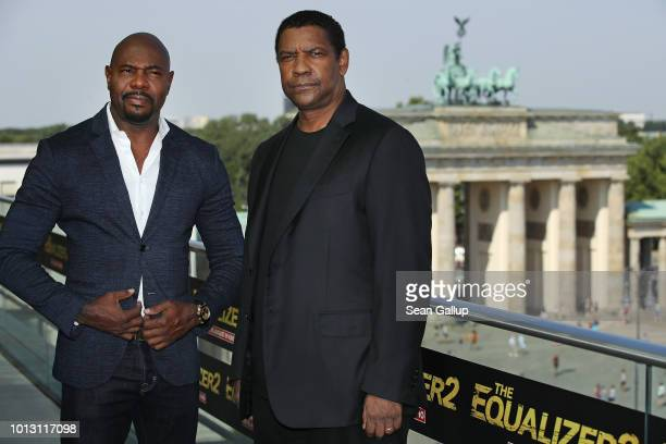 Actor Denzel Washington and director Antoine Fuqua pose for a photo during the photo call for 'The Equalizer 2' at Akademie der Kuenste as the...