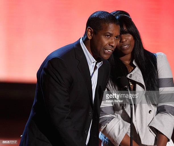 Actor Denzel Washington and his daughter Katia Washington present the Best Movie award onstage during the 18th Annual MTV Movie Awards held at the...