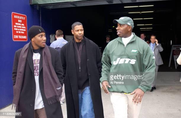 Actor Denzel Washington and his son John David Washington meet with New York Jets Vice President of Player Development Kevin Winston on the New York...