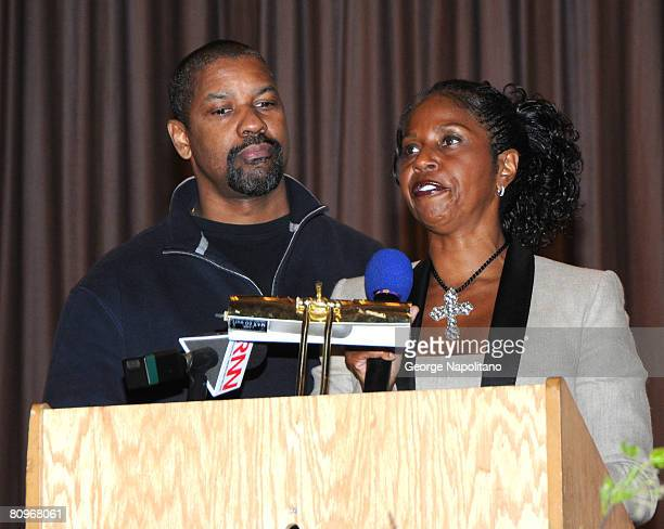 Actor Denzel Washington and his wife actress Pauletta Washington appear at Mt Vernon High School to present Neuroscience Research Scholarships award...
