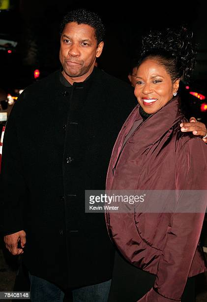 Actor Denzel Washington and his wife Pauletta arrive at the MGM premiere of The Great Debaters held at the Arclight Cinerama Dome on December 11 2007...