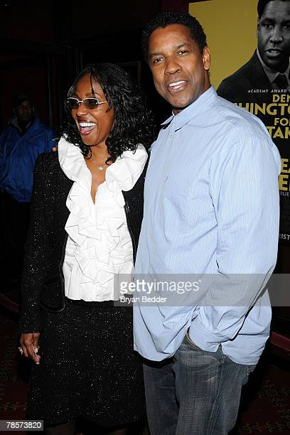 Actor Denzel Washington and his wife Pauletta Parson arrive at the premiere of The Great Debaters at the Ziegfeld theater on December 19 2007 in New...