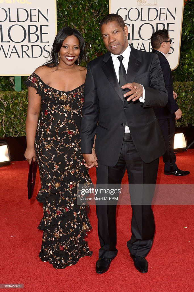 Actor Denzel Washington (L) and Olivia Washington arrive at the 70th Annual Golden Globe Awards held at The Beverly Hilton Hotel on January 13, 2013 in Beverly Hills, California.