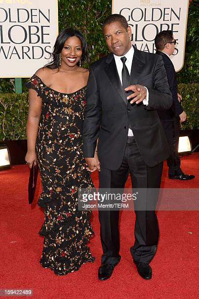 Actor Denzel Washington and Olivia Washington arrive at the 70th Annual Golden Globe Awards held at The Beverly Hilton Hotel on January 13 2013 in...