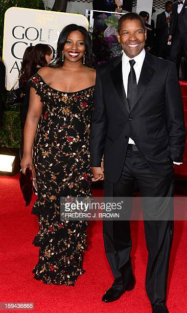Actor Denzel Washington and Olivia Washington arrive for the Golden Globe Awards in Beverly Hills on January 13 2013 AFP PHOTO / Frederic J BROWN