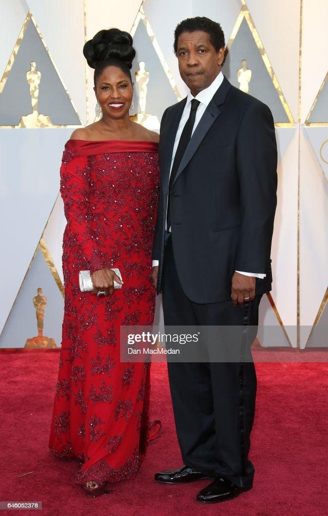 Actor Denzel Washington (R) and Pauletta Washington arrive at the 89th Annual Academy Awards at Hollywood & Highland Center on February 26, 2017 in Hollywood, California.