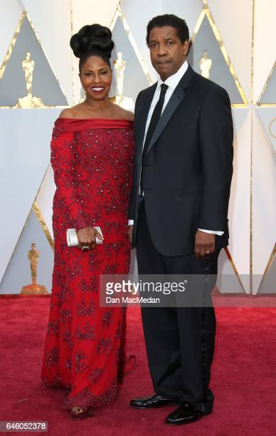 Actor Denzel Washington and Pauletta Washington arrive at the 89th Annual Academy Awards at Hollywood Highland Center on February 26 2017 in...