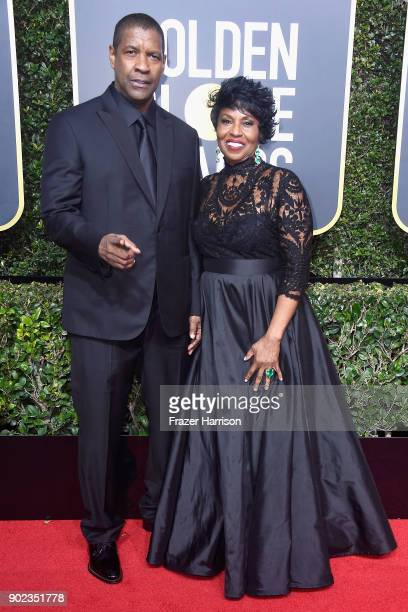 Actor Denzel Washington and Pauletta Washington attend The 75th Annual Golden Globe Awards at The Beverly Hilton Hotel on January 7, 2018 in Beverly...