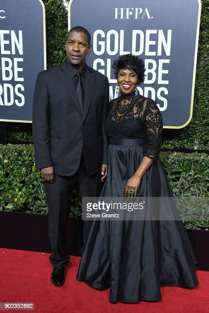 Actor Denzel Washington and Pauletta Washington attend The 75th Annual Golden Globe Awards at The Beverly Hilton Hotel on January 7 2018 in Beverly...