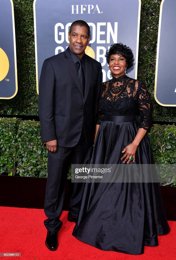 Actor Denzel Washington (L) and Pauletta Washington attend The 75th Annual Golden Globe Awards at The Beverly Hilton Hotel on January 7, 2018 in Beverly Hills, California.
