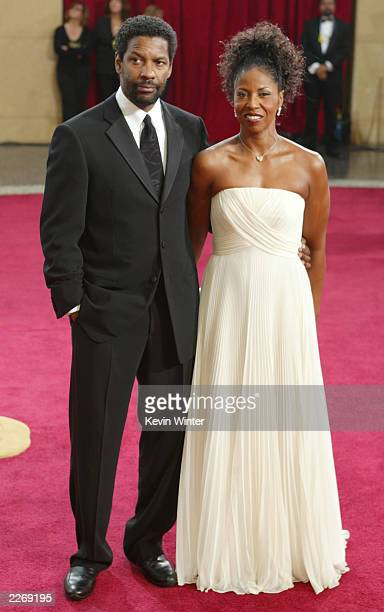 Actor Denzel Washington and wife Pauletta attends the 75th Annual Academy Awards at the Kodak Theater on March 23 2003 in Hollywood California