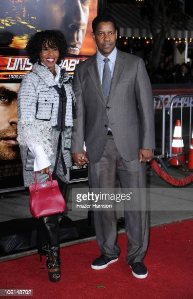 """Actor Denzel Washington and wife Pauletta Washington arrive at the premiere of Twentieth Century Fox's """"Unstoppable"""" at Regency Village Theater on..."""