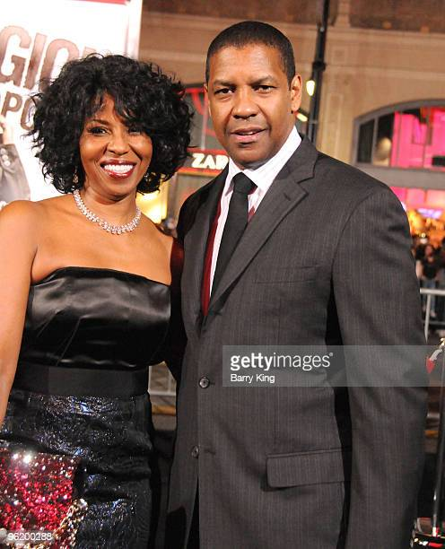 Actor Denzel Washington and wife Pauletta Washington arrive at the Los Angeles Premiere The Book Of Eli at Grauman's Chinese Theatre on January 11...